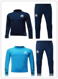 Wholesale Men Suits Blue - Top quality 2017 2018 Ligue 1 Maillot de foot Marseille soccer training suits blue black tracksuits Uniforms shirts long sleeve tights pants