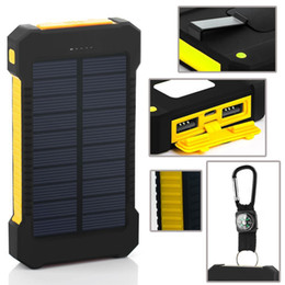 Wholesale Solar Battery Led - Waterproof compass solar power bank 20000mah universal battery charger with LED flashlight and compass for outdoor camping