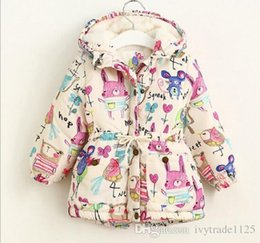 Wholesale Painting Animal Print - Winter kids girl cartoon animals painting print hoodies coat winter girl cashmere zipper long sleeve warm coat outwear kids clothing