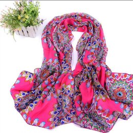 Wholesale Wholesale Silk Peacock Scarves - Wholesale- 2016 Hot Sale Peacock Feather Scarfs Print Woman scarf long Chiffon Silk Burnt-out Floral Scarves Wrap R5A16037