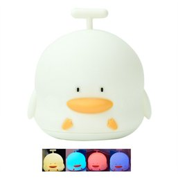 Wholesale Cartoon Sound Effects - NEW LED Night Light Clown Duck Comes With Sound Effects Silicone Lamp USB Charging Cute Good Gift Portable Children's Bedroom Lamp