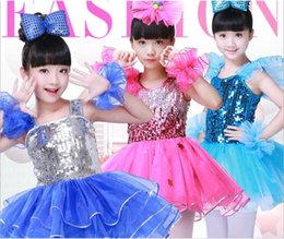 Wholesale Stage Clothing Gold - Children's Day cool Jazziness street modern dance chorus uniform costumes girl or boy 110-170cm tall sequin suit stage performace clothes
