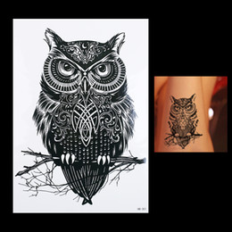 Wholesale Tattoos Designs Sexy Eyes - Wholesale-1pc Waterproof Temporary Tattoo Sticker Black Owl Branch Bird HB301 Sexy Women Men Body Art Tattoo Sticker Decal Products Design