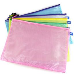 Wholesale File Storage Case - 10pcs lot Document File Bag Holder Storage Case Cosmetic Makeup Bag Student Stationery School Supplies Pen Bag Plastic Container