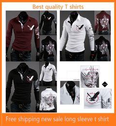 Wholesale White Cotton Eagle Print Shirt - Monde fashion Men's slim shirts Men's T-shirts Eagle Tattoo printing shirts lapel shirt Paul men's t-shirts clothing Size:M,L,XL,XXL