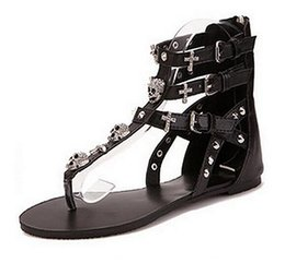 Wholesale White Skull Heels - Woman fashion thong sandals Rhinestone Crosses Skull Rome flip flops women flats for women flat slippers ladies B7051002