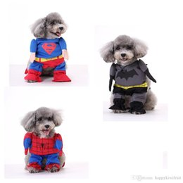 Wholesale Batman Costume Cape - Puppy superhero cape Costume Superhero DOG Batman dog clothes cat clothing four legs Change to pack puppy pet teddy mixs Christmas gift