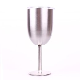 Wholesale Wine Glass Wall Art - 10oz Stainless Steel Wine Glass Custom Logo Double Wall Insulated Glass cups Metal Goblet With Lid Tumbler Red Wine Mugs