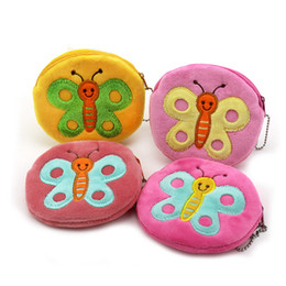 Wholesale Butterfly Plush - Wholesale- 11cm*10cm Cute Style Butterfly Zipper Plush Coin Purse Kawaii Children Coin Purse Women Wallets Mini Handbag