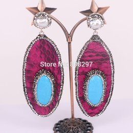 Wholesale Leather Earrings Wholesale - 4Pairs Blue Stone & Snake Skin Leather Dangle Earrings Crystal Rhinestone Paved Earrings Women Jewelry