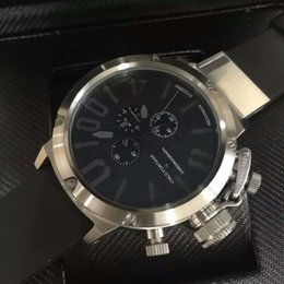 Wholesale Mens Big Case Watches - Classic Brand Silver Case Stainless Big Dial Luxury Mens Quartz Chronograph Wristwatch U Men Business Watches Christmas Gift Free Shipping