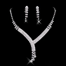 Wholesale Stockings For Ladies - 2017 Shinning Rhinestone Blue Lady Necklace Earring Sets Bridal Accessories Jewelry for Wedding Party Evening Prom In Stock Cheap 15023