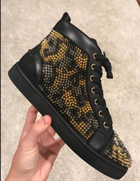 Wholesale Leopard Spike Shoes - Famous Designer Loubs Spike Black Gold Leopard High Top Sneaker Men's Flat Red Bottom Shoes Wedding Party Casual Sneakers Sole Red