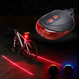 Wholesale Bycicle Led Lights - Bicycle 5 LED Light 2 Lasers Night Mountain Bike Tail Light Taillight MTB Safety Warning Bike lights Lamp Bycicle Light