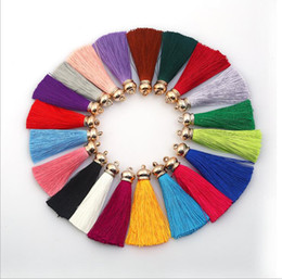 Wholesale Pendant Earings - 20 colors Tassels Charms Imitated Meryl Tassel Pendant Gold Cap Stopper DIY Earings Necklace Jewelry Keychain Bags Handcraft Accessories