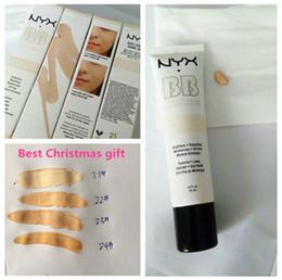 Wholesale Naked Skin Bb Cream - Christmas 48pcs NYX Concealer BB Cream 30g Moisturizing Foundation 4 Color Naked Makeup Base Isolation Body Concealer Cream Beauty Product