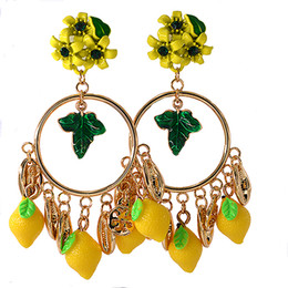 Wholesale crystal fruit plate - New Brand Vintage Baroque Fruit Drop Earrings Crystal Yellow Flower Green Leaf Circle Earing Gold Shell Shape Lemon Pendant Gifts