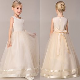 Wholesale Summer Wedding Dresses Colors - heap Girls Party Dresses 2017 New 8 Colors Cute Summer Spring Flower Girls' Dresses A Line Floor Length Wedding Dresses For Girls MC0683