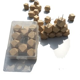 Wholesale Wood Tiles - Wood studs nails soft wood board message board head nail multi-faceted diamond-shaped creative wooden nails Fasteners and Hardware