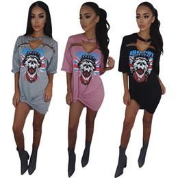 Wholesale Skull Shirt Dress - 2017 Spring Women Skull Printed Dress Cotton Causal Short Sleeve Mini Dress Loose T shirt Dresses Plus Size Free Shipping
