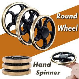 Wholesale toy bike wheels - Round Wheel Brass Hand Fidget Spinner Metal Aiming Circle Finger Spinner Fidget Toy Hand Spinne Decompression Toys For Kids And Adults DHL