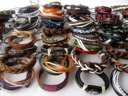 Wholesale Tribal Black - Wholesale lots 30pcs Mixed Style Surfer Cuff Ethnic Tribal Leather Bracelets Fashion Gift