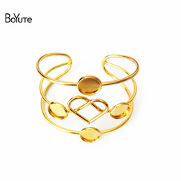 Wholesale Cabochon 12mm Setting - BoYuTe 5Pcs 12MM Cabochon Setting Fashion DIY Metal Bangle Bracelet Line Twist Heart Silver Gold Bangles
