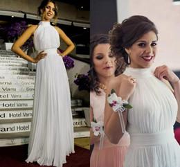 Wholesale Elegant Bridal Dress Wedding Wear - Simple Elegant 2017 Bohemian Sheath Wedding Dresses High Neck Chiffon Summer Beach Bridal Gowns Cheap Wedding Party Wear