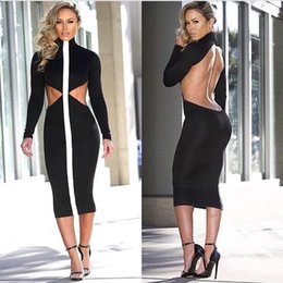 Wholesale Cotton Dresses Stitching Models - 2017 new summer fashion sexy backless dress stand collar long sleeve black stitching dress hot explosion models