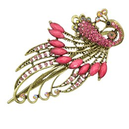 Wholesale Peacock Hair Barrettes - New Luxurious Antique Gold-Color with Colorful Rhinestone Peacock Hairpins Hairwear For Women Hair Jewelry