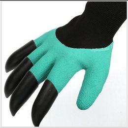 Wasserdichte gartenhandschuhe online-Fashion Garden Genie Handschuhe mit Fingerspitzen Krallen Grün Graben und Pflanzen Sichere Schnitthandschuhe Wasserdichte Grabhandschuhe
