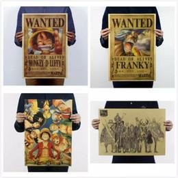 Cartazes de crianças vintage on-line-19 Estilos de Papel Do Vintage Retro Anime Cartaz-Luffy Wanted Cartazes / Kid Cudi Cartaz / Vintage Casa Adesivos de Parede Decor 5 pçs / lote