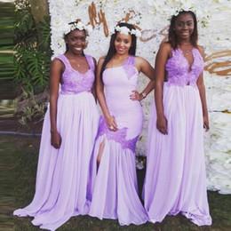 2019 nigeria chiffon kleid Flieder Drei Stil Nigeria Lange Brautjungfernkleider mit Spitze applique eine Linie Mädchen der Ehre Mermaid Wedding Guest Kleid Chiffon Brautkleider rabatt nigeria chiffon kleid