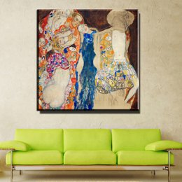 Wholesale Cheap Large Abstract Paintings - ZZ754 home decorative canvas wall art Huge Gustav Klimt Giclee Print Canvas Wall Art Home Decor Living Room Painting Large Cheap