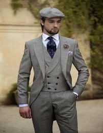 Wholesale Winter Vest For Wedding - 2017 Vintage Grey Mens Suits Peaked Lapel Wedding Suits For Men Groom Tuxedos for men One Button Suit (Jacket+Pants+vest+tie)