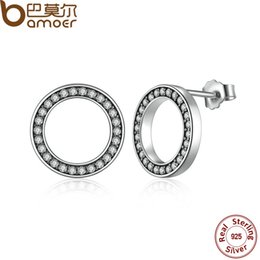 Wholesale Push Jewelry - yizhan BAMOER Forever, Clear CZ 925 Sterling Silver Circle Push-back Femme Stud-Earrings Fine Jewelry Boucle d'oreille bijoux PAS437