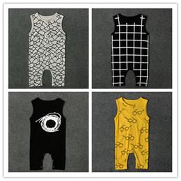 Wholesale Short Sleeve Check - 4 styles infants baby sleeveless jumpsuit net pattern cobwebbing glasses grids checks print vest romper ins hot summer outfits for boys girl