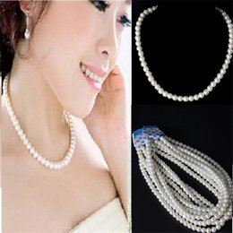 Wholesale Cheap Fashion Necklaces For Women - New Styles Cheap Pearl necklace for women Short section 8mm wedding party necklaces Fashion Fine Pearls Jewelry Gift wholesale 100pcs