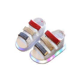 Wholesale Kids Gladiator Shoes - 2017 Summer Led Light Shoes Children Sandals Boys Girls Hook Loop Lighted Sandals Kids Baby Luminous beach Shoes free shipping