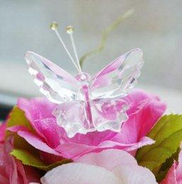 Mariposas plateadas para decoracion online-Sólido Cristal exquisito decoración de la mariposa con la caja de regalo de plata Regalo de la fiesta de bienvenida al bebé El mejor regalo de boda de cristal