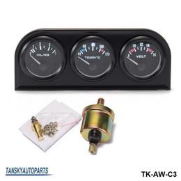 Wholesale Meters Temperature Sensors - TANSKY - 52MM 3 in1 Car Accuracy Meter Auto Gauge Water Temperature Oil Pressure Oil Press or Volt Gauge With Sensor TK-AW-C3
