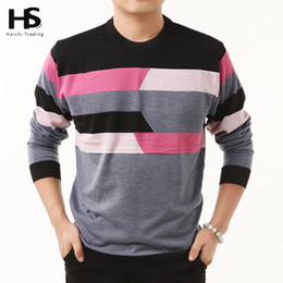 Wholesale Wool Shirt 4xl - HS High Quality New Autumn Winter Dress Striped Cashmere Wool Pullover Men Sweater Brand Casual Shirts O-Neck Clothing S - XXXXL
