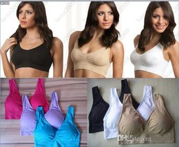 Wholesale Genie Bras Lace - Free shipping 100sets=300pcs Genie leisure Bra with removable sponge pad, Sexy Seamless two layer ahh sport BODY SHAPER Push Up-opp bag