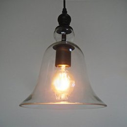 Wholesale Glasses Sockets - CY - DD - 036 Industrial Bell Glass Lamp Shade Retro Pendent Ceiling Light Socket