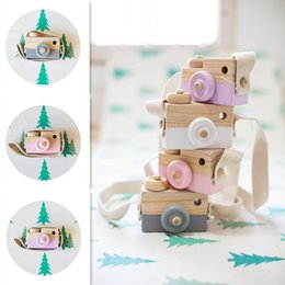 Wholesale Christmas Props For Baby Photography - INS Novelty Toys for Kids Baby Wooden Toy Camera Photography Props Mini Toy Baby Cute Safe Natural Birthday Gift Room Decoration NC065