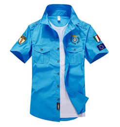 Wholesale Blue Bushes - Air Force One bush-shirt Elastic Breathable Cotton Mens Dress Shirts Summer handsome powerful Male Military Series Casual Shirt