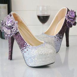 Vestido de fiesta morado de cenicienta online-Zapatos de tacón alto de diamantes de imitación de color púrpura y plata Bombas de fiesta de boda Zapatos de vestir formal de novia Bombas de graduación de Cenicienta más el tamaño 45