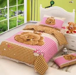 Wholesale Silk Comforter Brown - Teddy Bear Bedding set duvet cover bed in a bag sheet Cartoon cute Baby Kids children bedspread bedroom Queen size Twin Cotton bedsheet