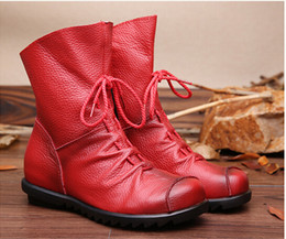 Wholesale Black Wedges Booties - 2017 Vintage Style Genuine Leather Women Boots Flat Booties Soft Cowhide Women's Shoes Front Zip Ankle Boots Martin boots zapatos mujer S70