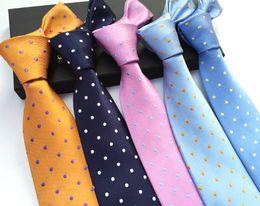Wholesale Narrow Silk Ties - Casual Mens Necktie Stripe Printed Tie for Wedding Party Polyester Yarn Jacquard Slim Skinny Narrow Woven Neck Tie